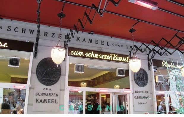 Terrassenmarkise mit Scherenarmen und Luster vom Markisen Hersteller Cassani