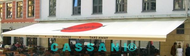 Terrassenüberdachung mit Markisenbeschriftung vom Markisen Hersteller Cassani